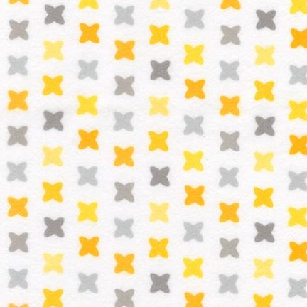 Robert Kaufman Cozy Cotton Flannel Yellow/Grey on White  SRKF-17651-5