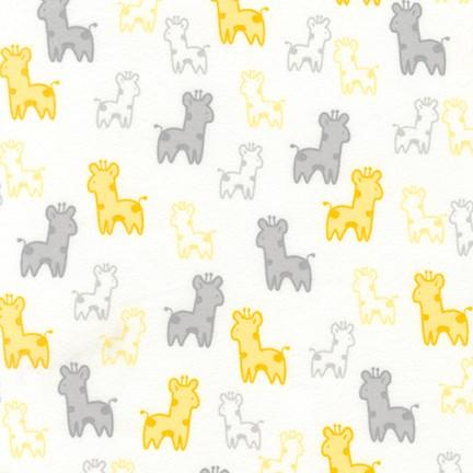 Robert Kaufman Cozy Cotton Flannel Yellow Grey White Giraffe ARQF-18680-5