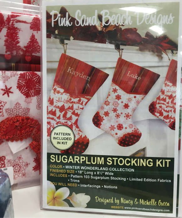 Sugarplum Stocking Kit - pattern from Pink Sand Beach Designs