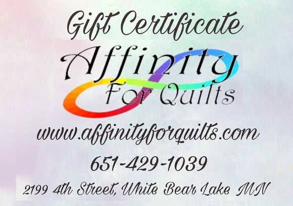 Affinity For Quilts Gift Card Certificate