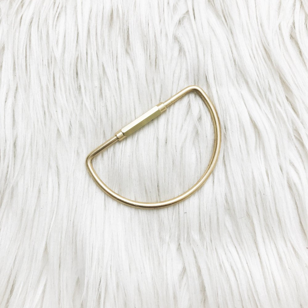 D shaped brass keyring