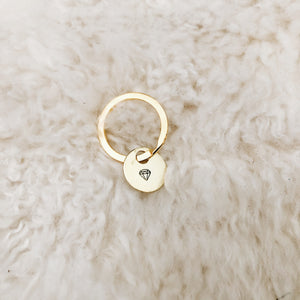 tiny diamond brass tag