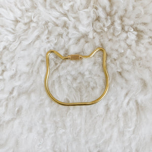 mini cat brass keyring
