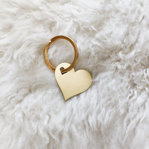 personalized brass heart tag