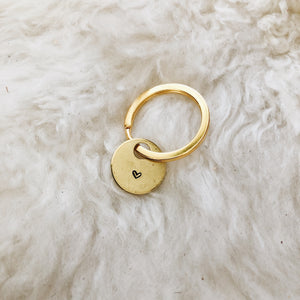 tiny heart brass tag