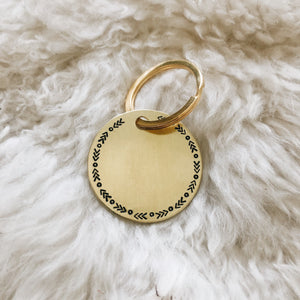 arrow stamped personalized brass tag