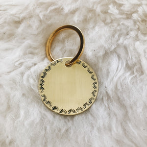 scalloped stamped personalized brass tag