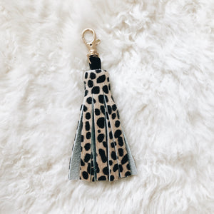 cheetah hair on tassel keychain