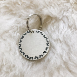 scalloped stamped personalized silver tag