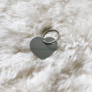 personalized silver heart tag