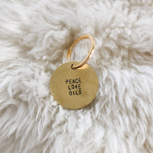 peace love oils brass tag
