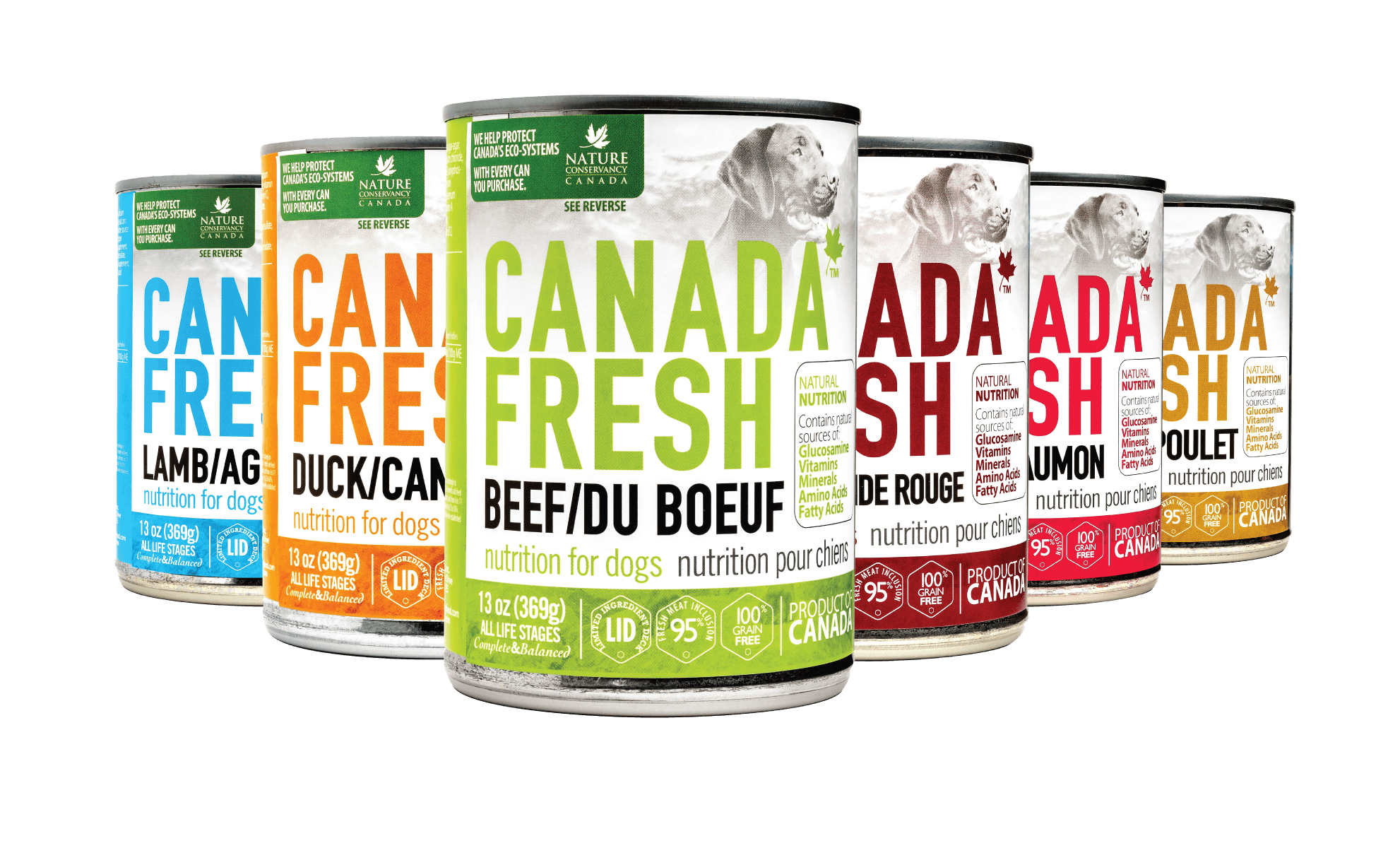 13 oz cans of all variants of the Canada Fresh dog range