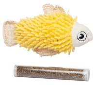 Bud'z - Fish with Catnip Tube - Yellow