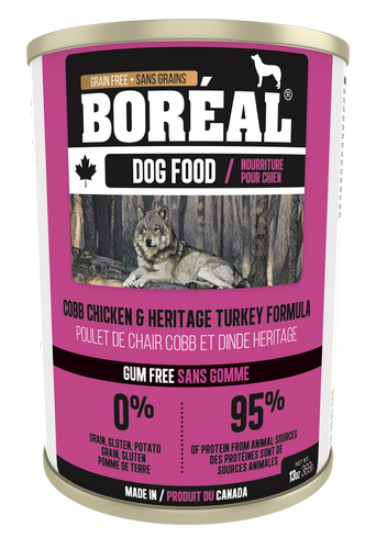 Boréal - Canadian Cobb Chicken & Heritage Turkey Dog Food - Gum Free - Complete Diet - All Breed Dog Food - Joint Support - Ontario & Quebec Free Run Chicken - Potato Free - Made in Canada