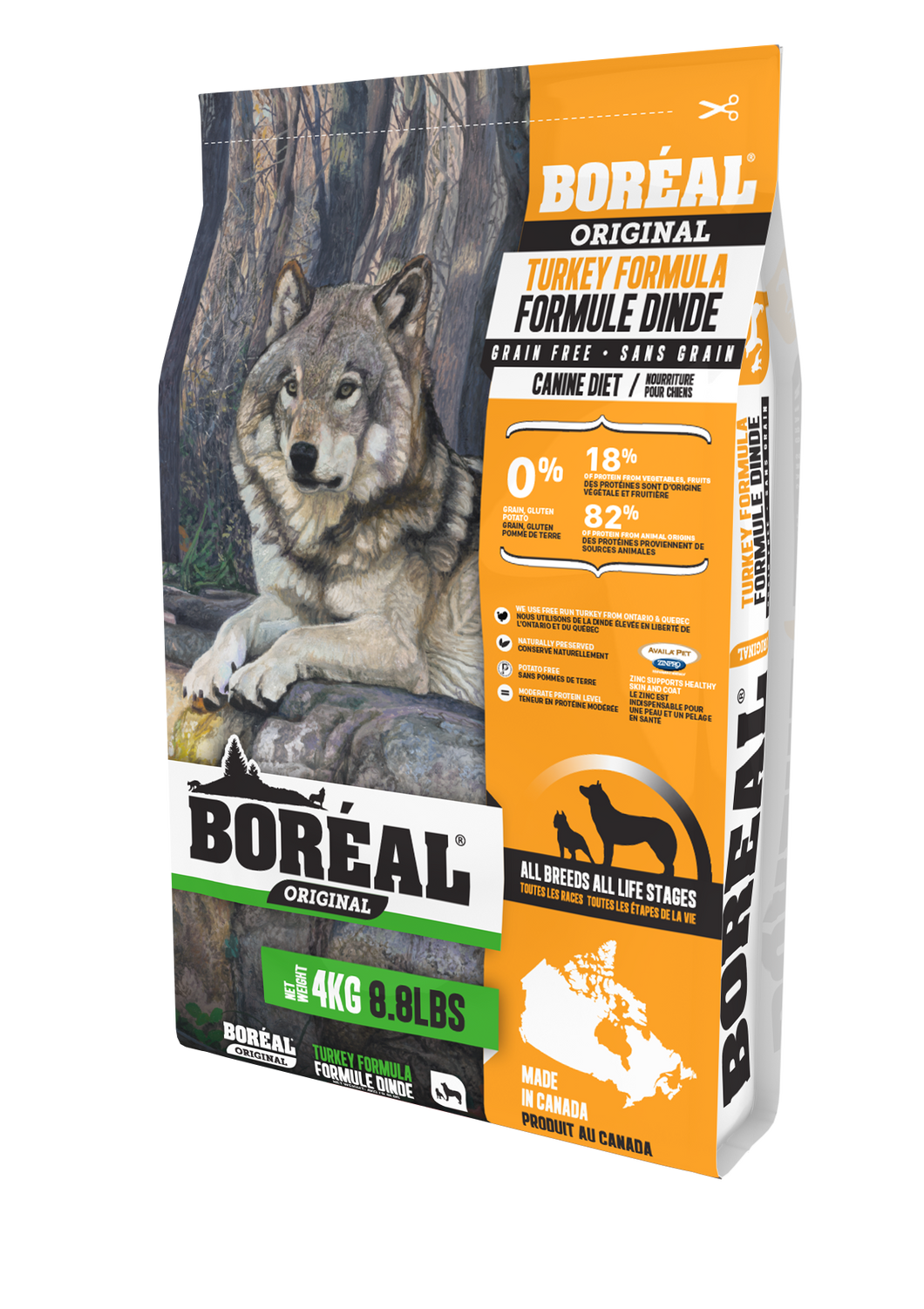 Boréal - Original Turkey Grain Free Dog Food - All Breed - Ontario & Quebec Free Run Chicken - Low Glycemic - Limited Ingredient - Naturally Preserved - Potato Free - Made in Canada