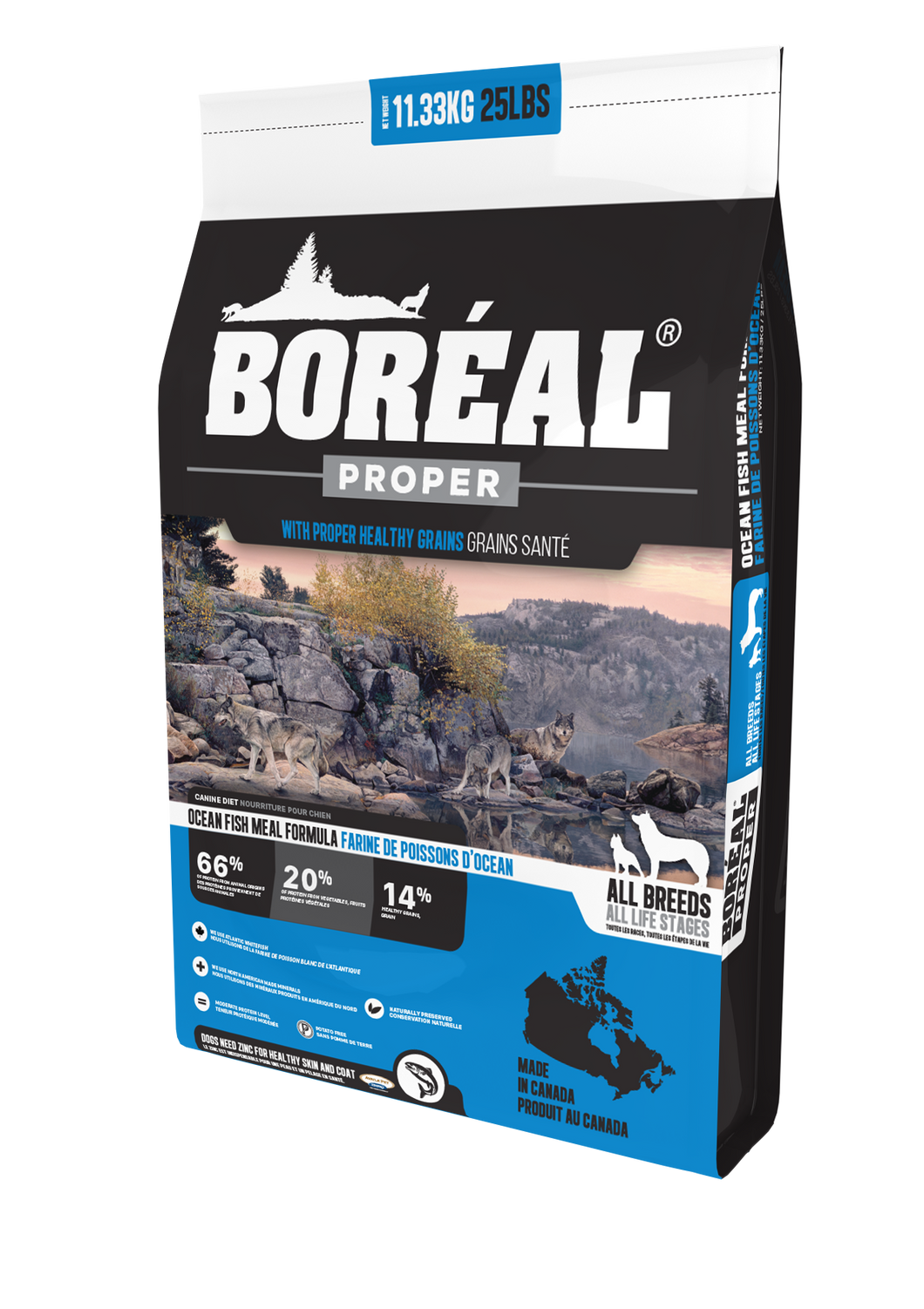 Boréal - Proper Ocean Fish Meal Low Carb Grain Inclusive Dog Food - Low Glycemic - All Breed - North American Minerals - Potato Free - Moderate Protein - Made in Canada