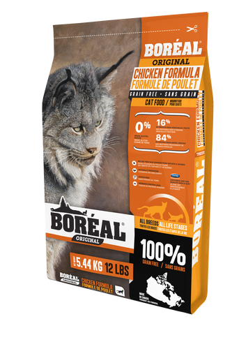 Boréal - Original Chicken Grain Free Cat Food - Made with Fresh Meat - Low Glycemic Index - All Breeds All Lifestages - Canadian Chicken - Free Run Chicken from Ontario & Quebec - Limited Carbohydrate - North American Minerals - Natual Preservatives - Made in Canada