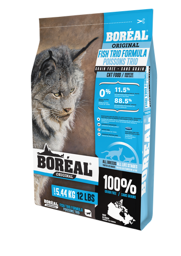 Boréal - Original Fish Trio Grain Free Cat Food - North Atlantic Formula - Low Glycemic Index - All Breed - Free Run Ontario & Quebec Chicken - Limited Carbs - Naturally Preserved - Potato Free - Moderate Protein Level - Made in Canada