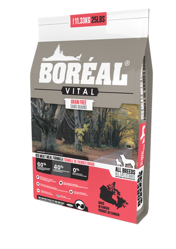 Boréal - Vital All Breed Red Meat Meal Grain Free Dog Food - Limited Ingredient Diet - Canadian Pork Meat Meal - Low Glycemic - Low Carb - North American Minerals - Naturally Preserved - New Zealand Lamb Meal - Potato Free - Made in Canada