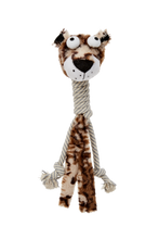 Load image into Gallery viewer, Bud'z - Plush with Cottone Rope Long Neck Dog Toy - Jaguar