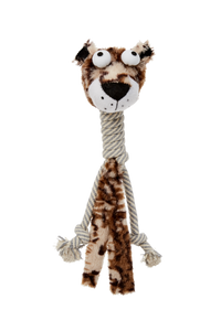 Bud'z - Plush with Cottone Rope Long Neck Dog Toy - Jaguar