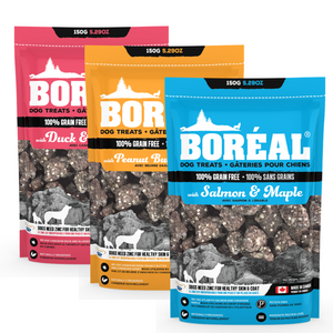Boreal Dog Treats - Duck & Blueberry - Peanut Butter & Honey - Salmon & Maple - Skin & Coat - Grain Free - North American Mineral Pack - Potato Free