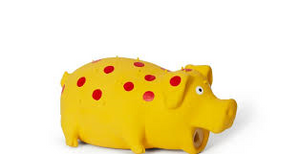 Bud'z - Latex Spotted Pig Honking Dog Toy - Yellow