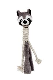 Bud'z - Plush with Cottone Rope Long Neck Dog Toy - Raccoon