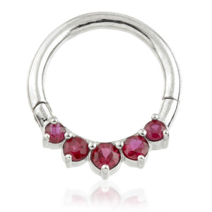 Open image in slideshow, 14ct Gold Ruby Daith Ring - Stunningly Beautiful