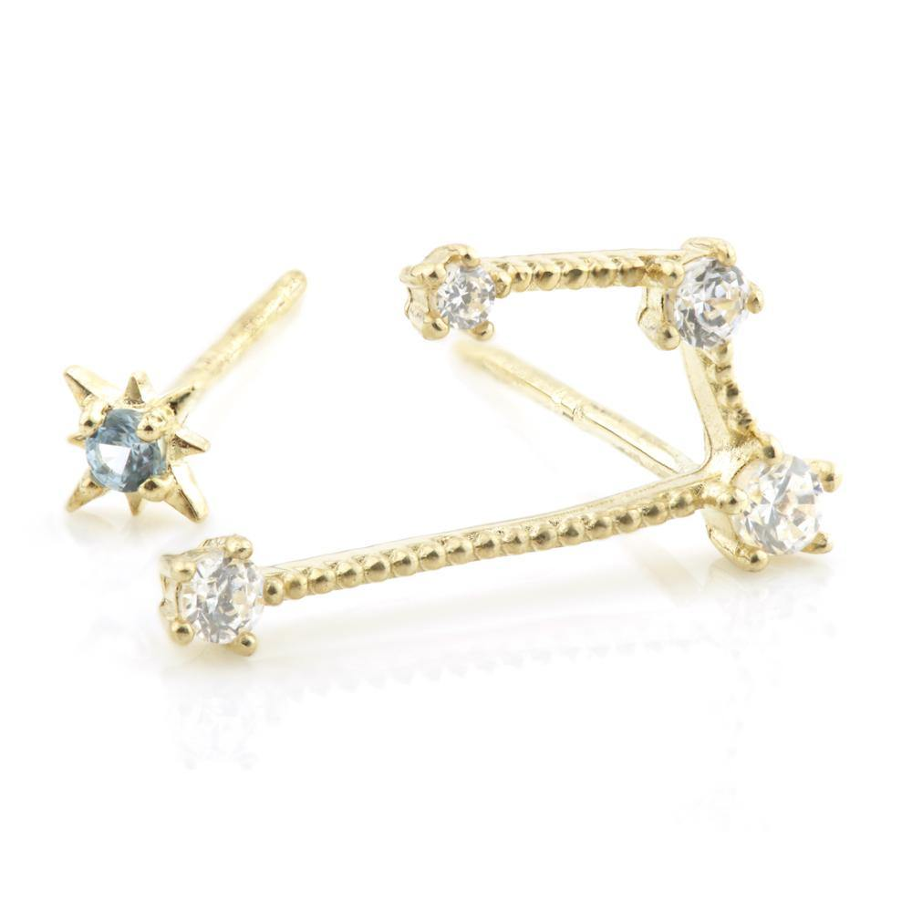 9ct Gold Gem Constellation Zodiac Earrings - Aries