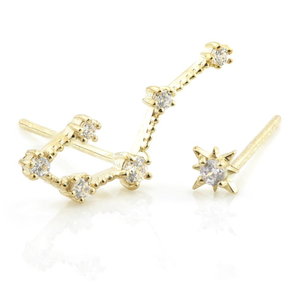 9ct Gold Gem Constellation Zodiac Earrings - Cancer