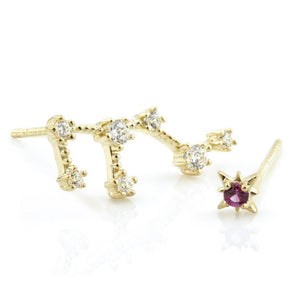 9ct Gold Gem Constellation Zodiac Earrings - Leo