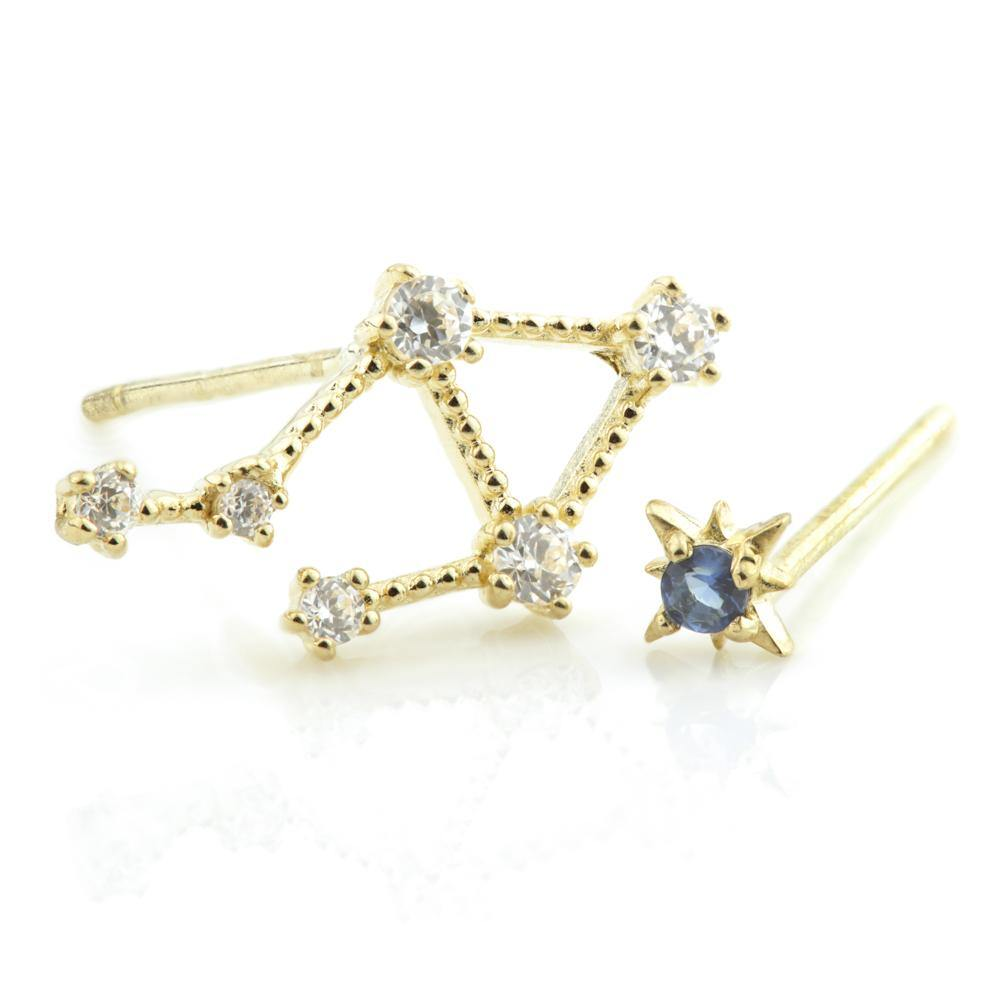 9ct Gold Crystal Constellation Zodiac Earrings - Libra