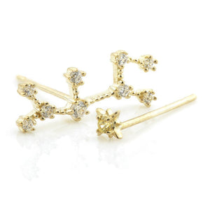 9ct Gold Gem Constellation Zodiac Earrings - Sagittarius