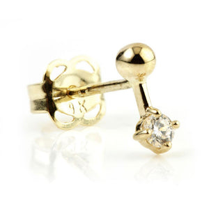 Open image in slideshow, 9ct Solid Gold Crystal Dot Stud Earring