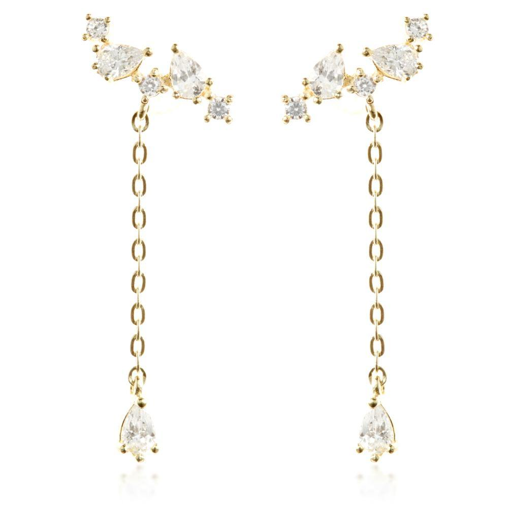 9ct Solid Gold Multi Shaped Gems with Hanging Gem Ear Climber Earrings
