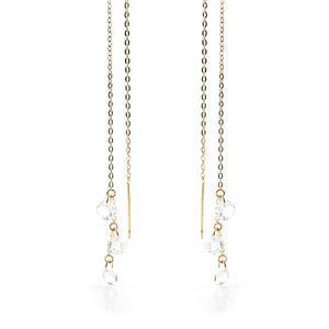 9ct Solid Gold 3 Hanging Crystals Threader Earrings