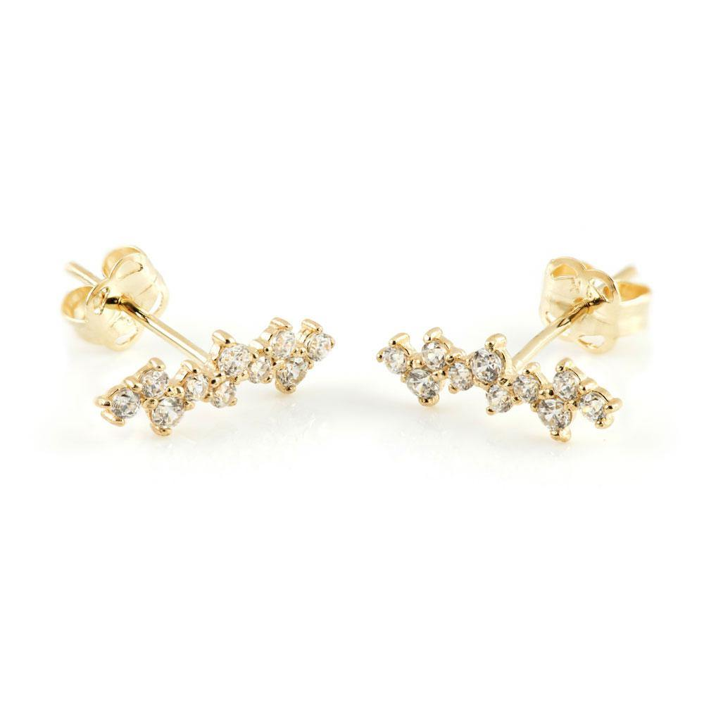 9ct Solid Gold Multi Double Gem Ear Climber Earrings