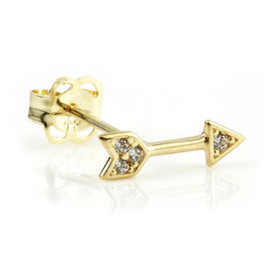 9ct Solid Gold Crystal Arrow Stud Earring