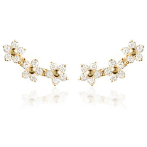 Open image in slideshow, 9ct Solid Gold Daisy Gem Curved Ear Climber Earrings
