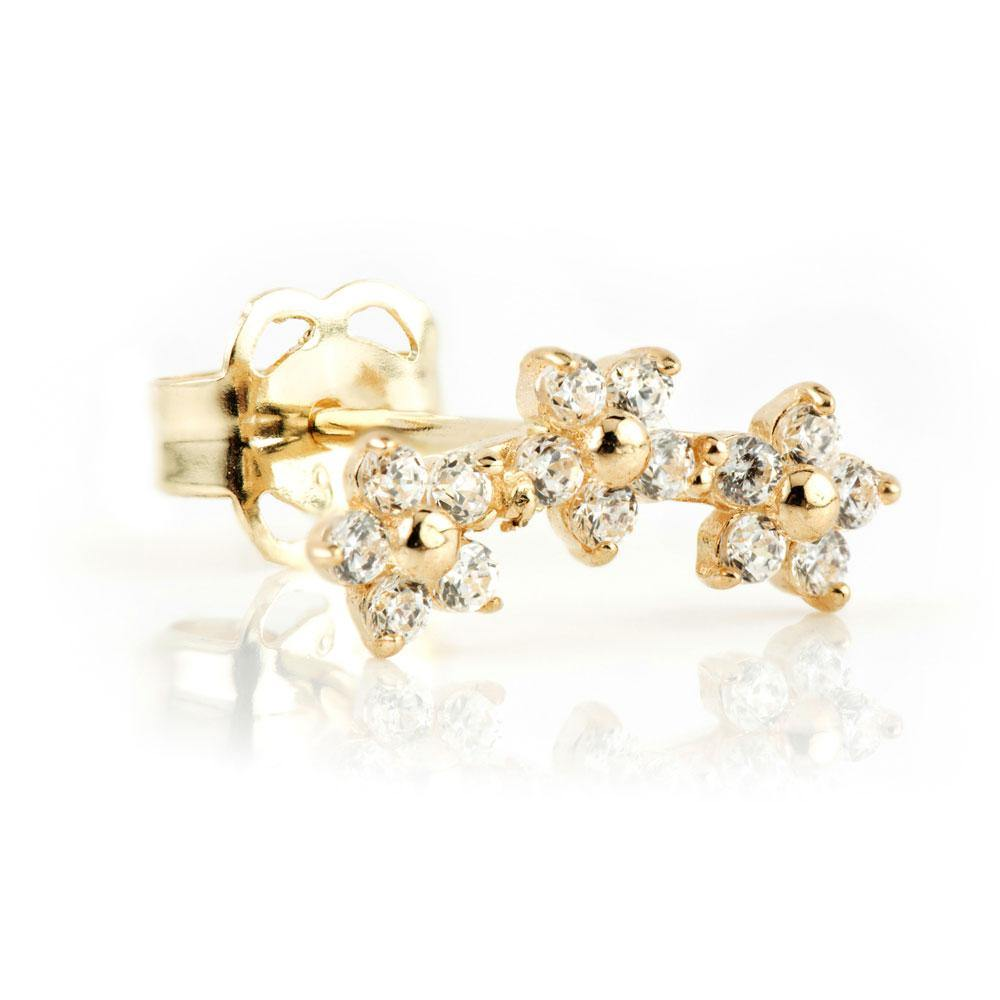 9ct Solid Gold Daisy Gem Curved Ear Climber Earrings