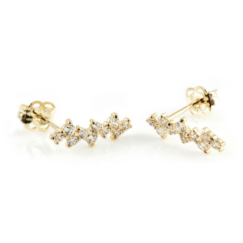 9ct Solid Gold Crystal Zig-Zag Ear Climber Earrings