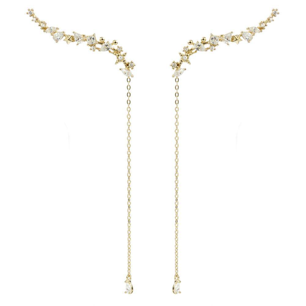 9ct Solid Gold Multi Shaped Gems & Hanging Gem Ear Climber Earrings