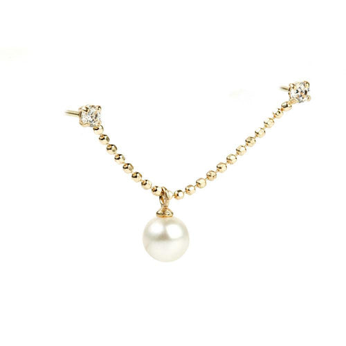 9ct Gold Chain Crystal & Pearl Double Stud Earring