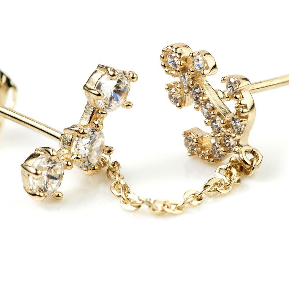 9ct Gold Chain Crystal Anchor Double Stud Earring