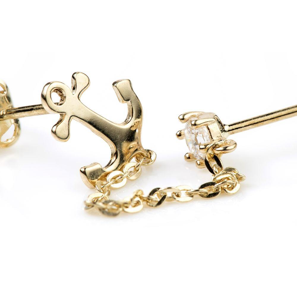 9ct Gold Crystal & Anchor Chain Linked Double Earring