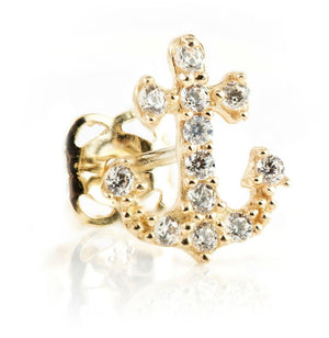 9ct Gold Crystal Anchor Stud Earring