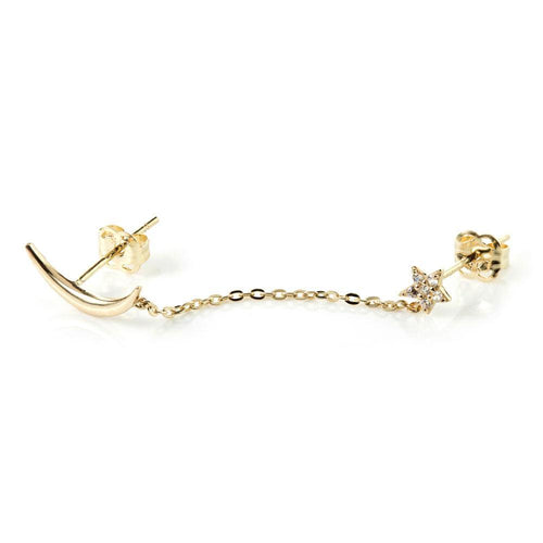 9ct Solid Gold Moon & Pave Crystal Star Chain Linked Stud Earrings