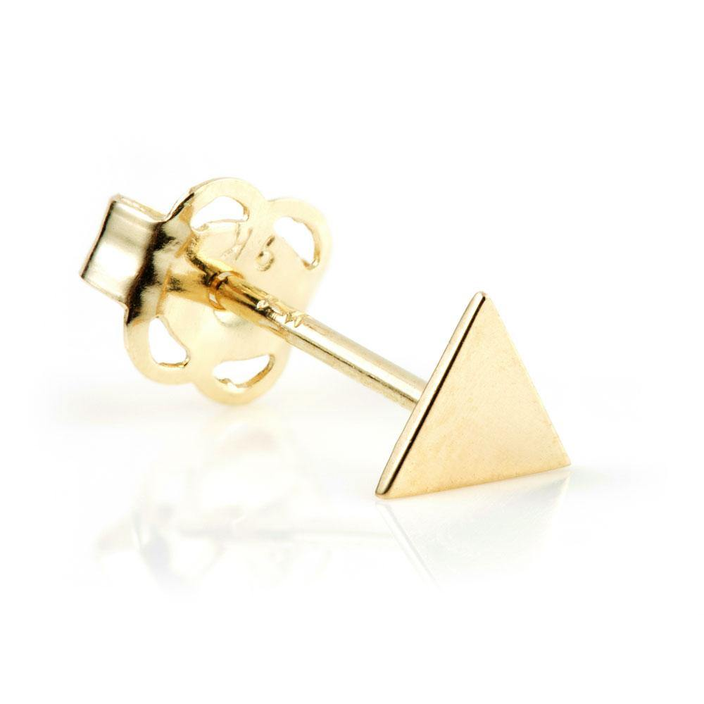 9ct Solid Gold Flat Triangle Stud Earring