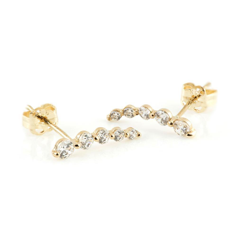 9ct Solid Gold Graduated Gem Ear Climber Earrings